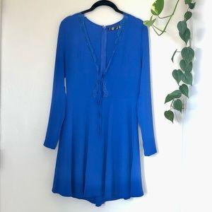 Missguided Long Sleeve Mini Dress Cobalt Blue Sz 6